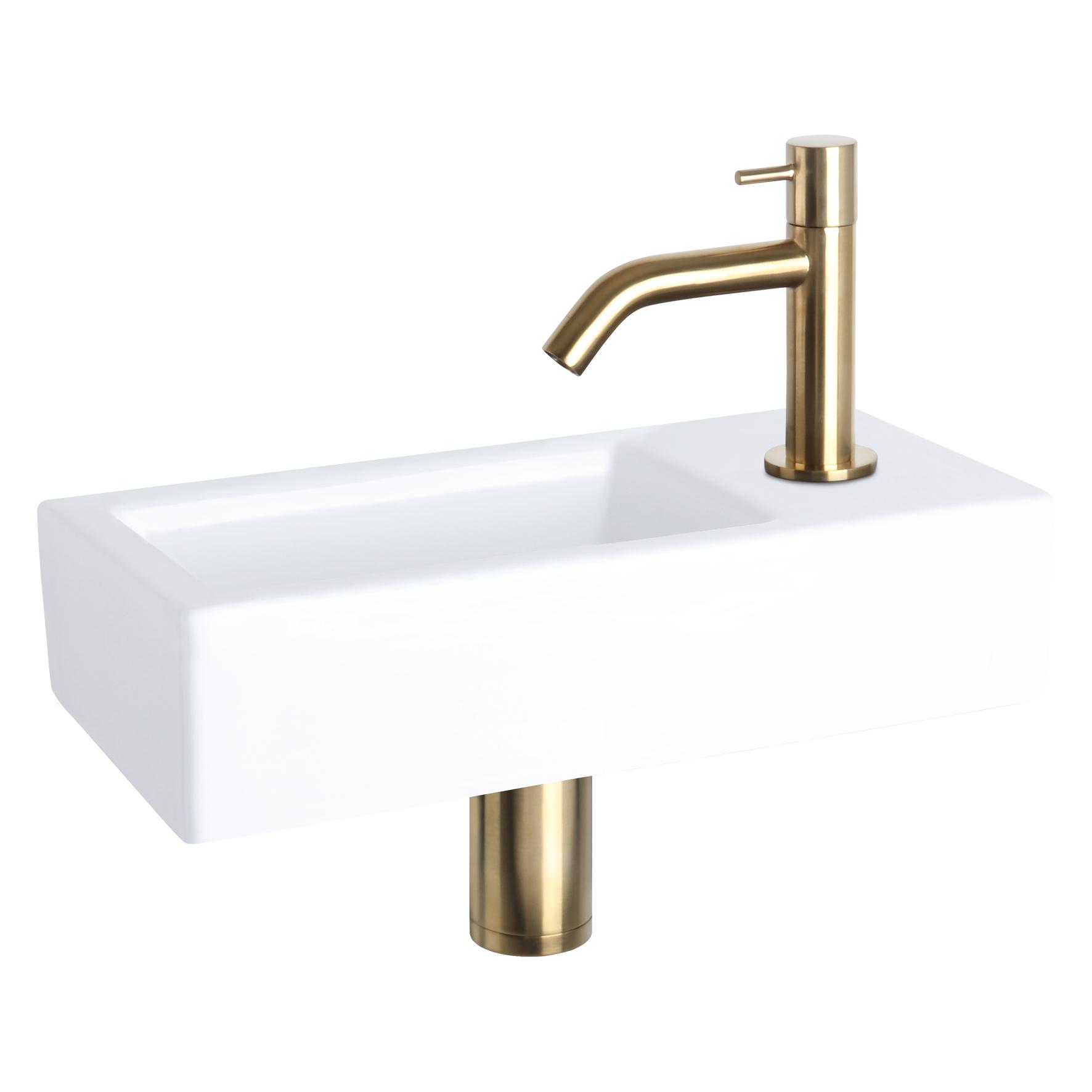Ravo fonteinset - Keramiek - Kraan gebogen mat goud