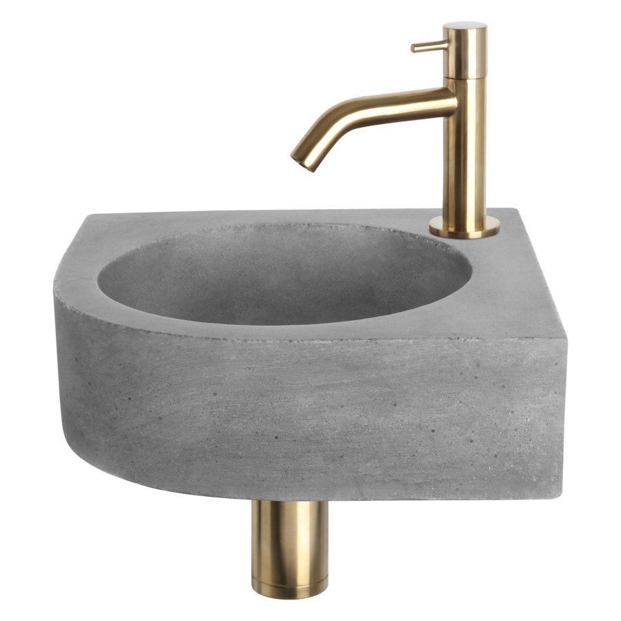 Cleo fonteinset - Beton donkergrijs - Kraan gebogen mat goud