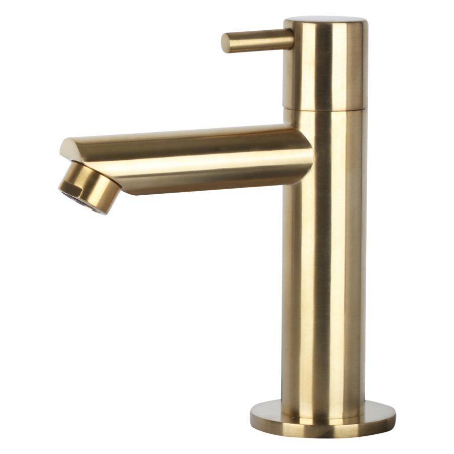 Cleo fonteinset - Beton donkergrijs - Kraan recht mat goud