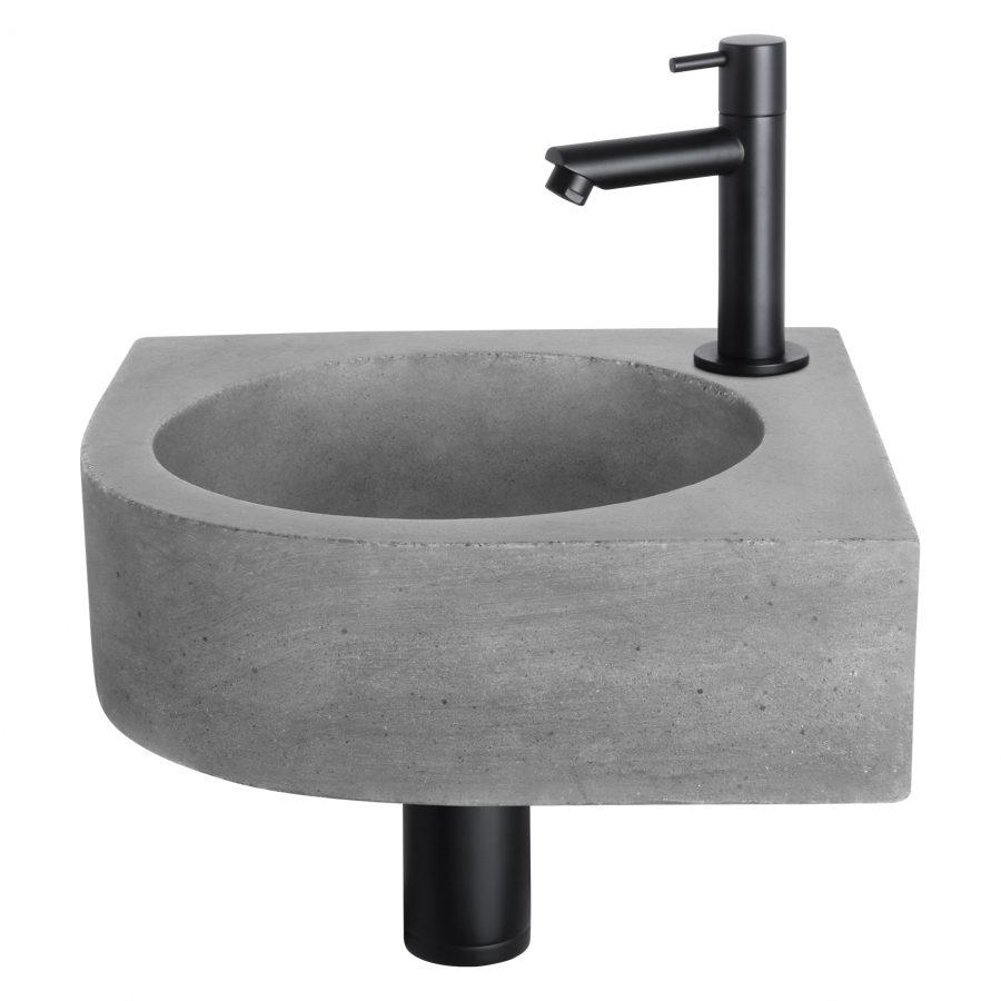 Cleo fonteinset - Beton donkergrijs - Kraan recht mat zwart