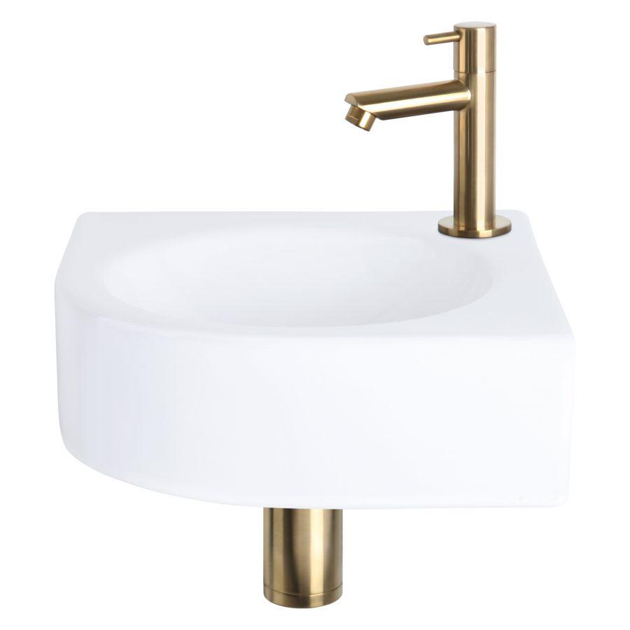 Cleo fonteinset - Keramiek - Kraan recht mat goud
