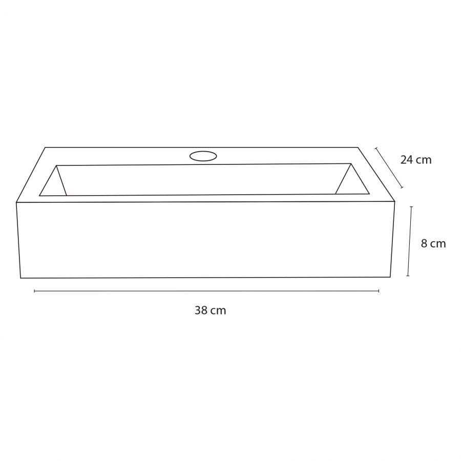 Flat fonteinset - Beton lichtgrijs - Kraan gebogen chroom