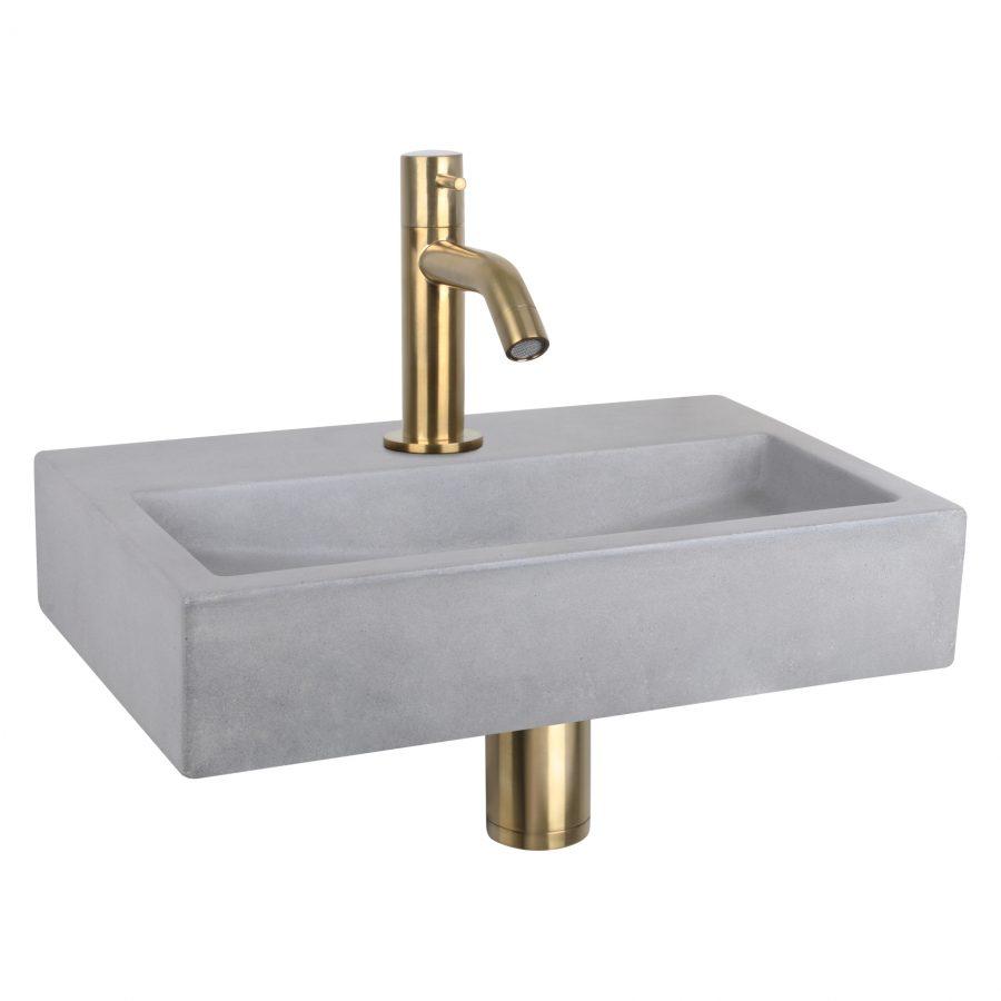 Flat fonteinset - Beton lichtgrijs - Kraan gebogen mat goud
