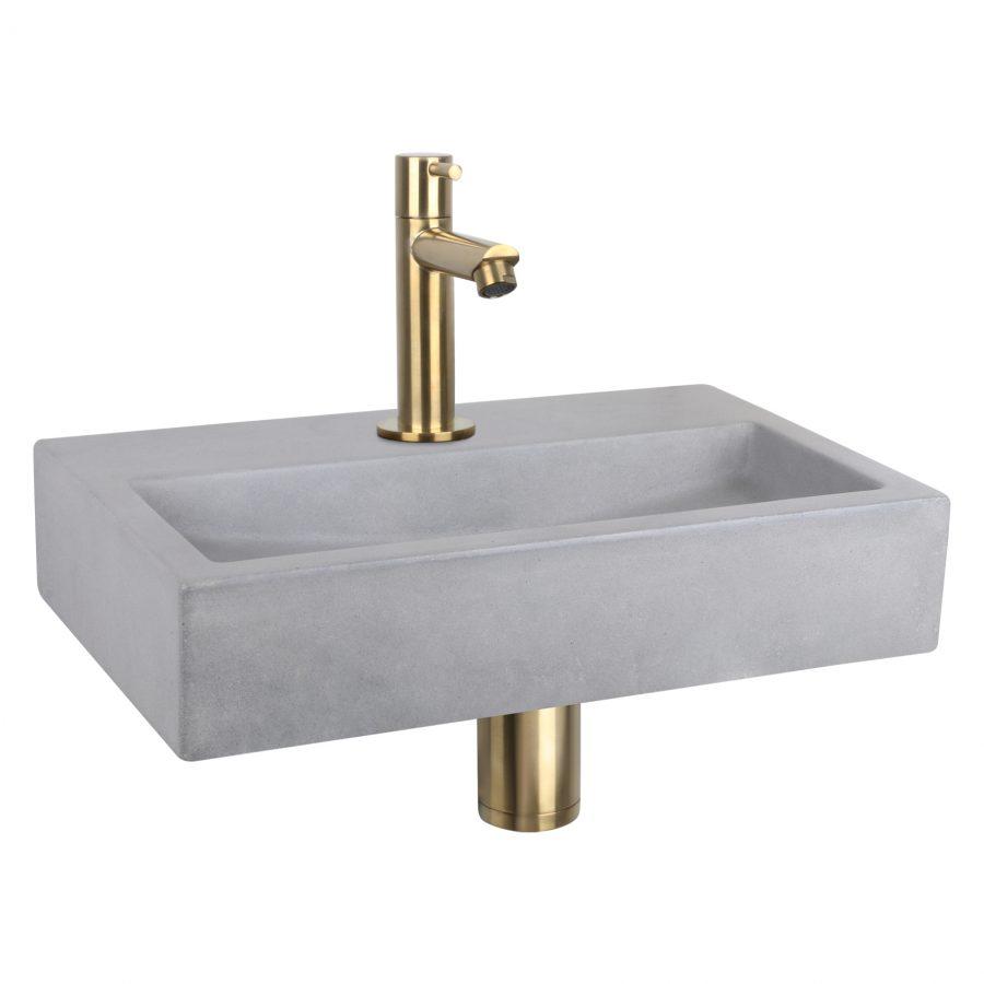 Flat fonteinset - Beton lichtgrijs - Kraan recht mat goud