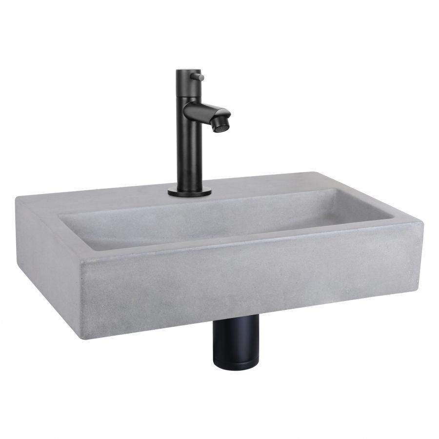 Flat fonteinset - Beton lichtgrijs - Kraan recht mat zwart