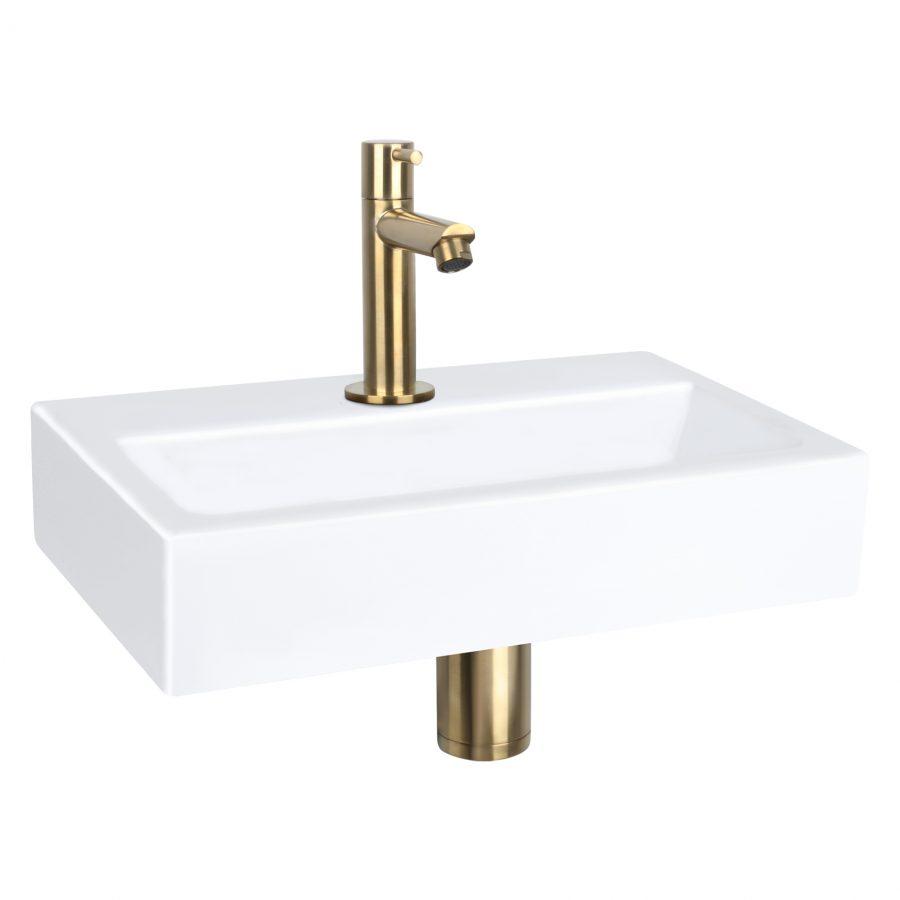 Flat fonteinset - Keramiek - Kraan recht mat goud