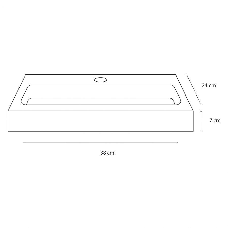 Flat fonteinset - Keramiek - Kraan recht mat zwart
