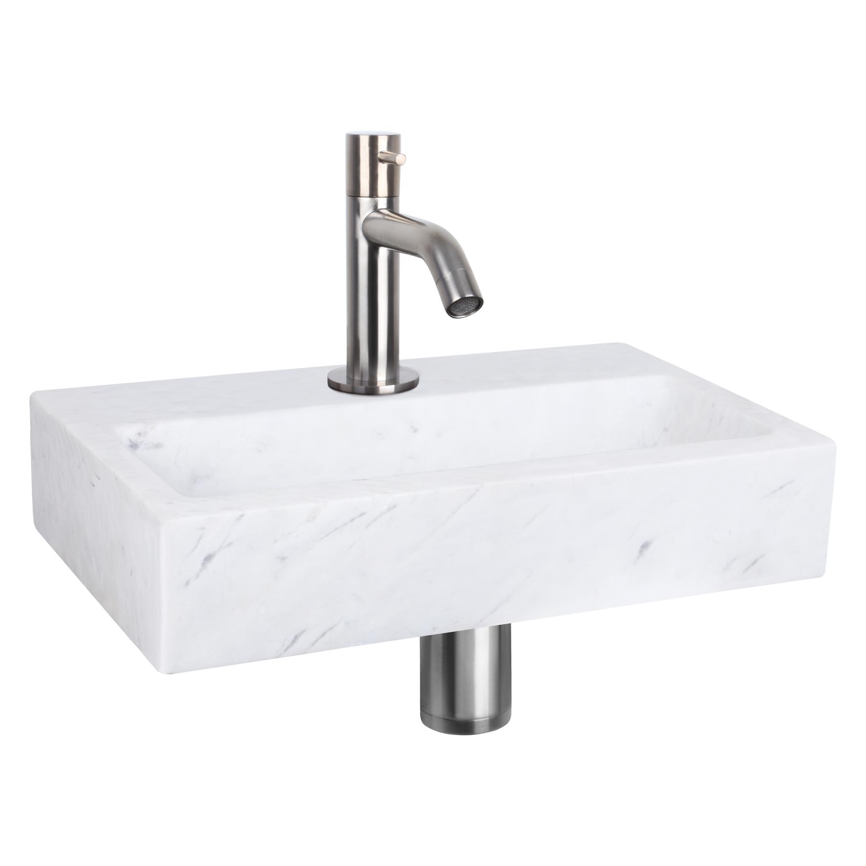 Flat fonteinset - Marmer - Kraan gebogen mat chroom