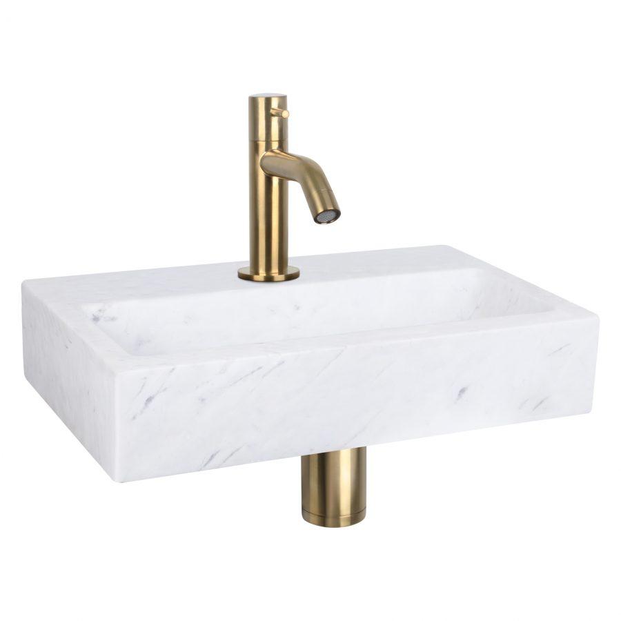 Flat fonteinset - Marmer - Kraan gebogen mat goud