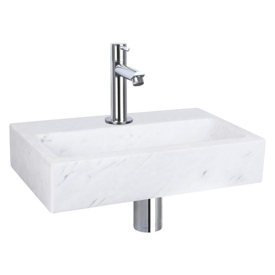 Flat fonteinset - Marmer - Kraan recht chroom