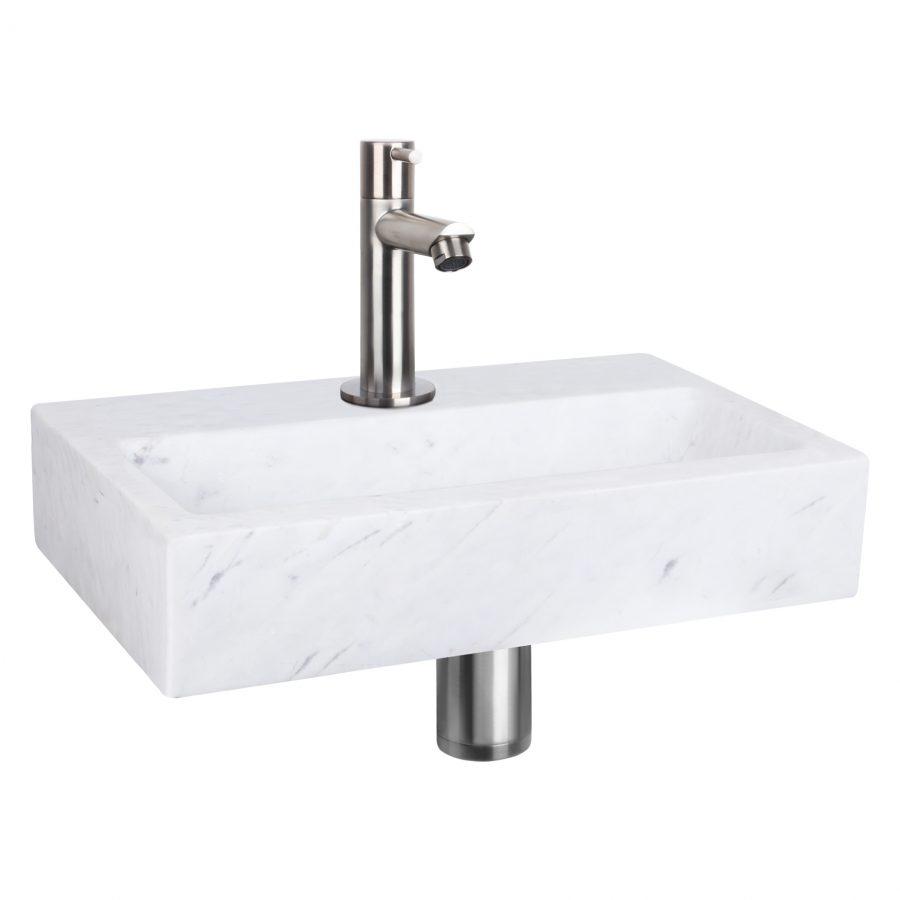 Flat fonteinset - Marmer - Kraan recht mat chroom