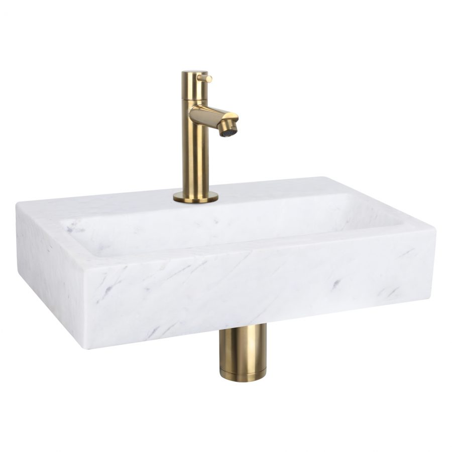 Flat fonteinset - Marmer - Kraan recht mat goud