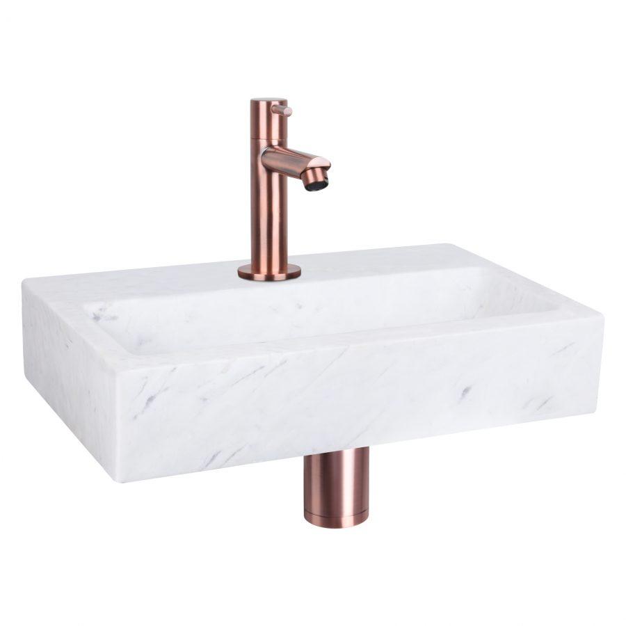 Flat fonteinset - Marmer - Kraan recht rood koper