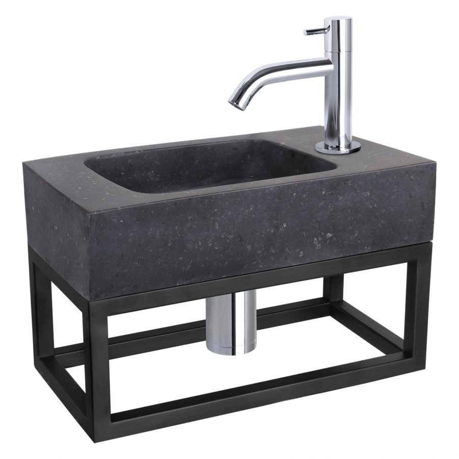Fonteinset Bombai black - Natuursteen - Kraan gebogen chroom - Met handdoekrek