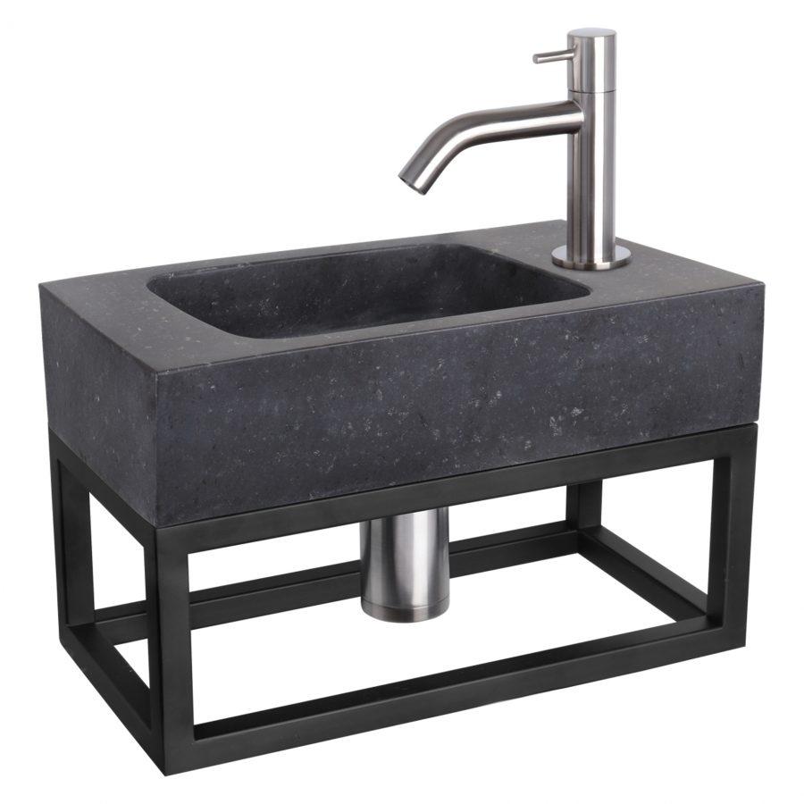 Fonteinset Bombai black - Natuursteen - Kraan gebogen mat chroom - Met handdoekrek