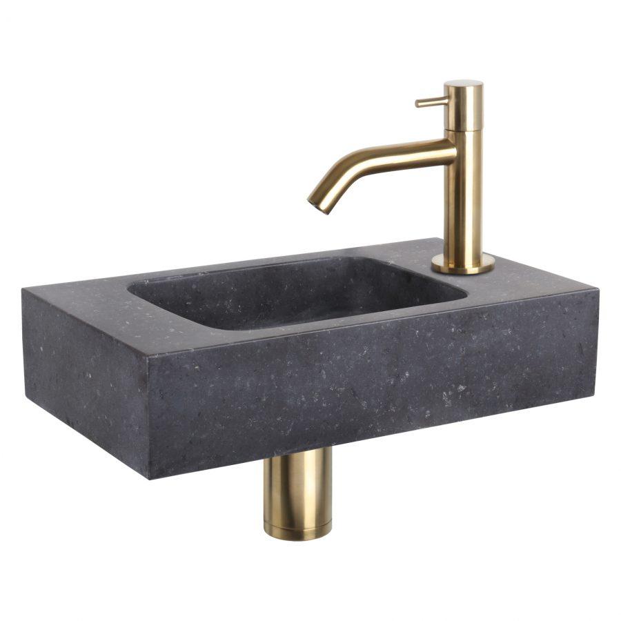 Fonteinset Bombai black - Natuursteen - Kraan gebogen mat goud