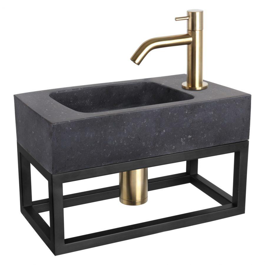 Fonteinset Bombai black - Natuursteen - Kraan gebogen mat goud - Met handdoekrek