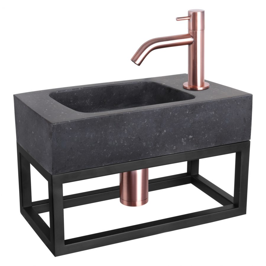 Fonteinset Bombai black - Natuursteen - Kraan gebogen rood koper - Met handdoekrek