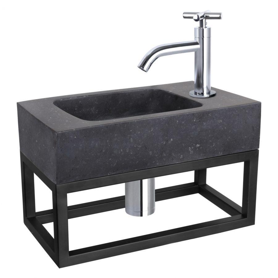 Fonteinset Bombai black - Natuursteen - Kraan kruis chroom - Met handdoekrek