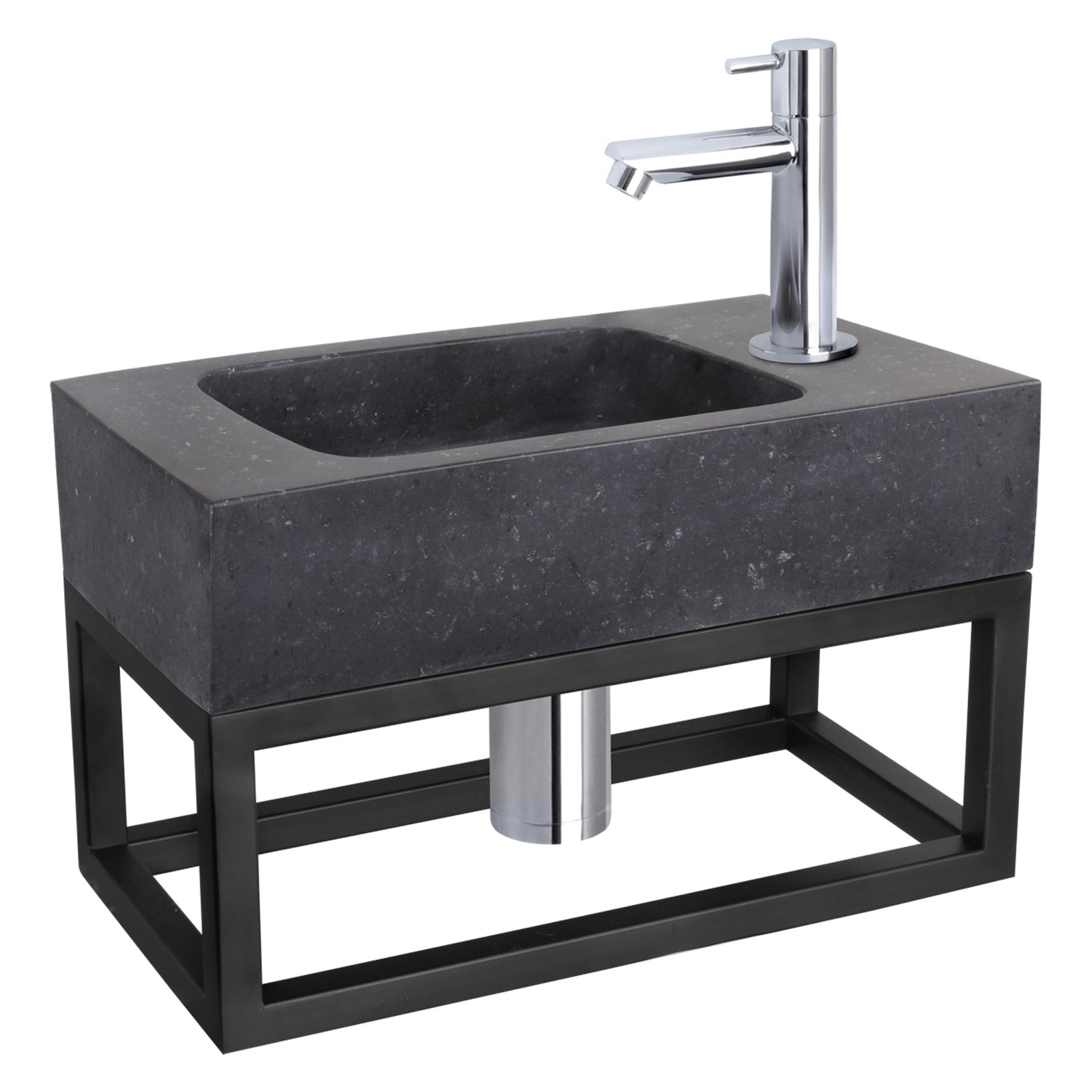 Fonteinset Bombai black - Natuursteen - Kraan recht chroom - Met handdoekrek