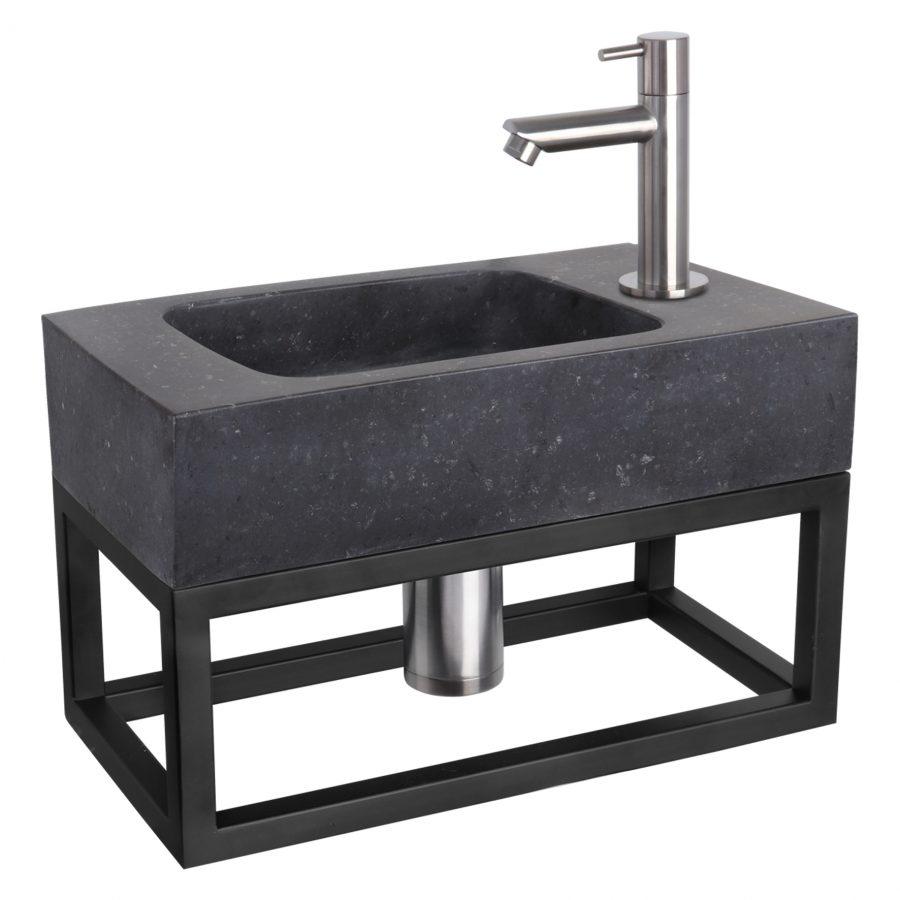 Fonteinset Bombai black - Natuursteen - Kraan recht mat chroom - Met handdoekrek