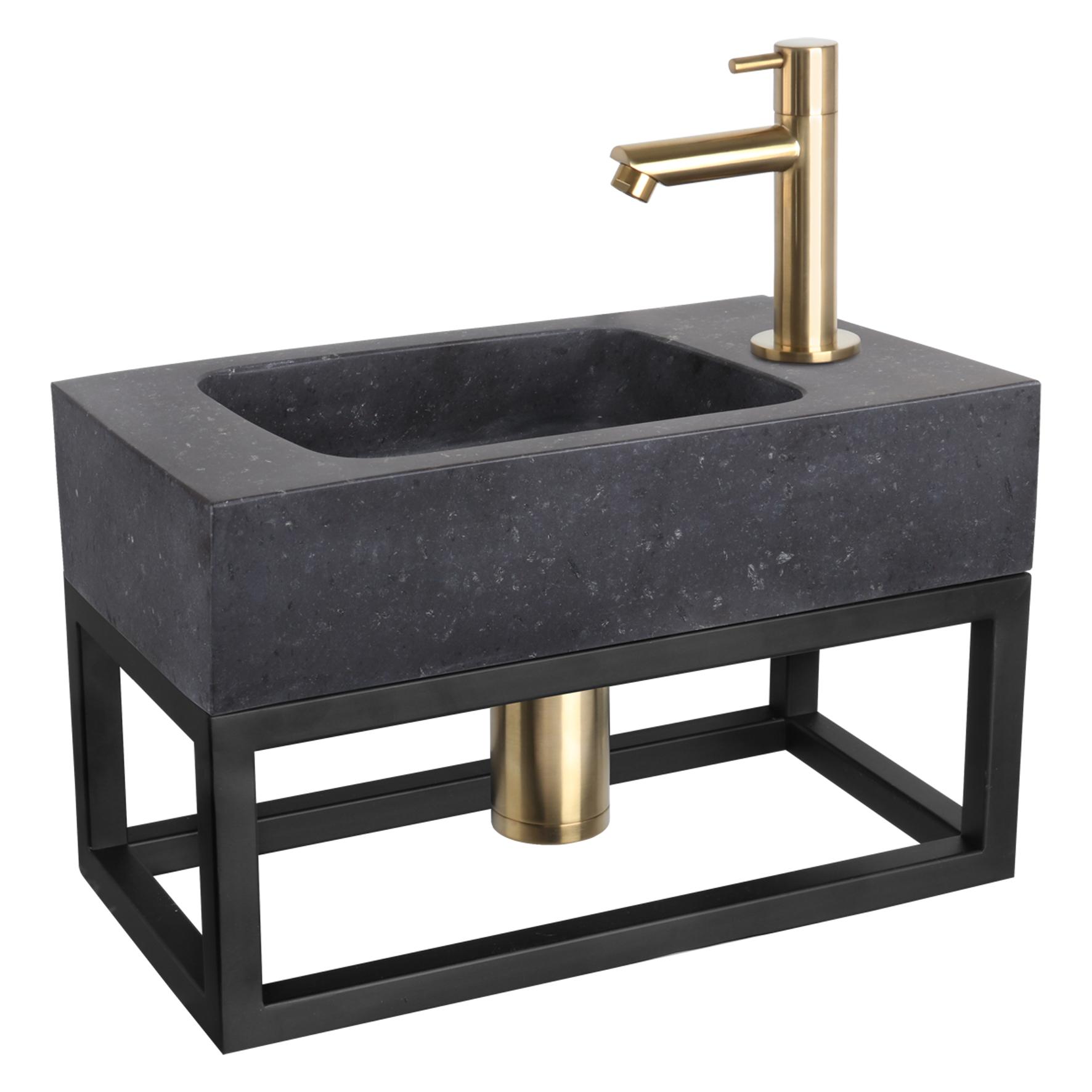 Fonteinset Bombai black - Natuursteen - Kraan recht mat goud - Met handdoekrek