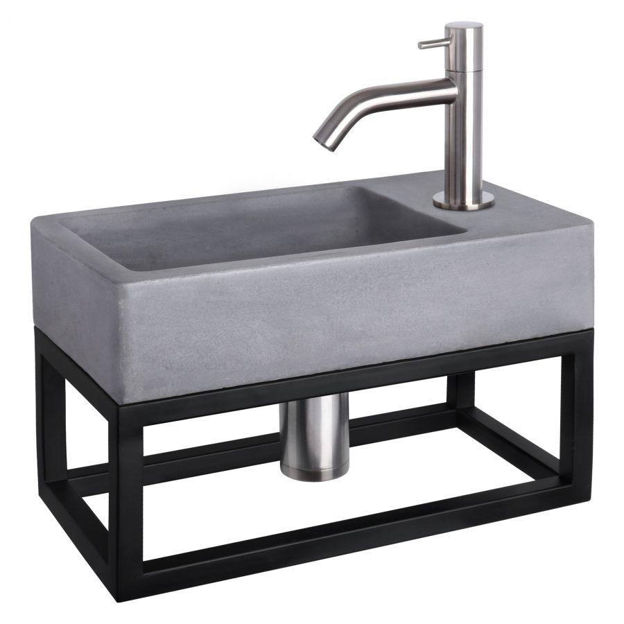 Force fonteinset - Beton donkergrijs - Kraan gebogen mat chroom - Met handdoekrek