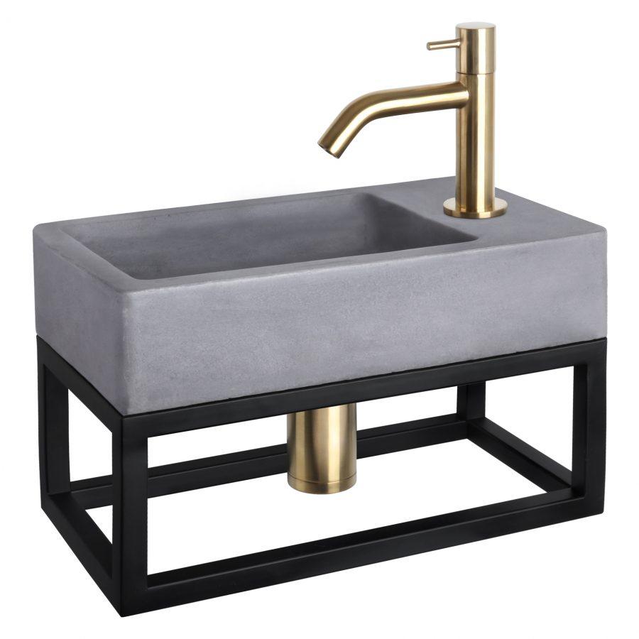 Force fonteinset - Beton donkergrijs - Kraan gebogen mat goud - Met handdoekrek