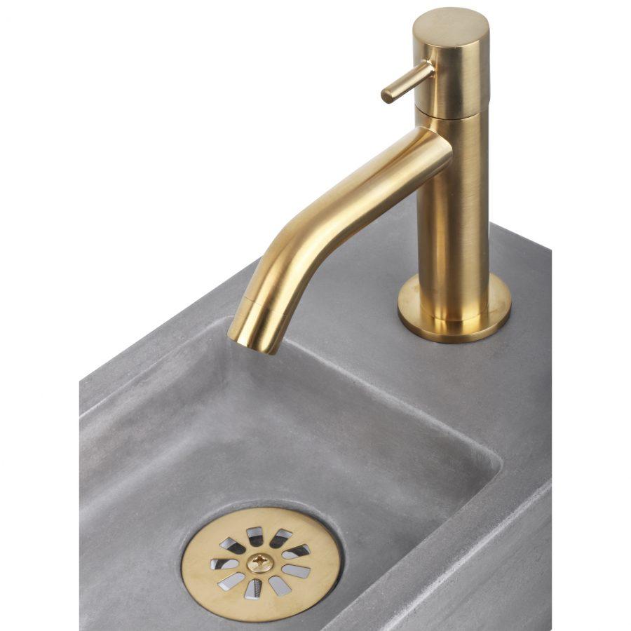 Force fonteinset - Beton donkergrijs - Kraan gebogen mat goud