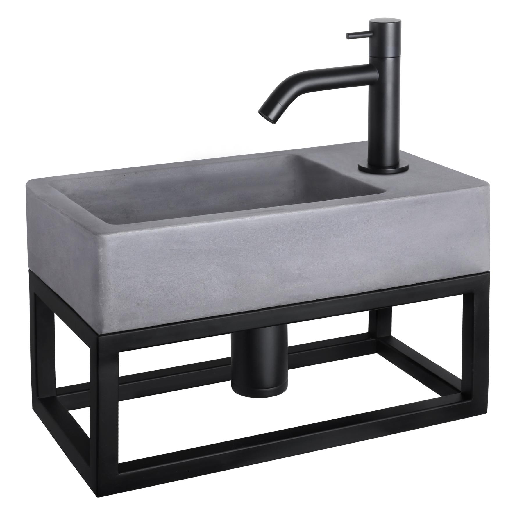 Force fonteinset - Beton donkergrijs - Kraan gebogen mat zwart - Met handdoekrek
