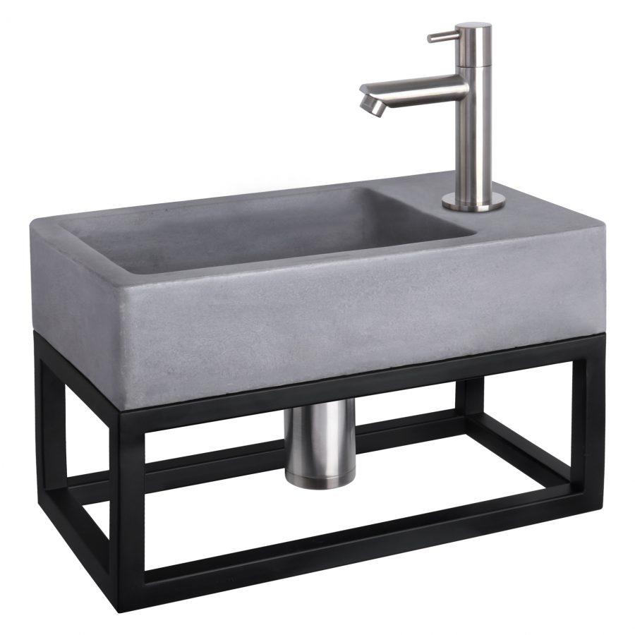 Force fonteinset - Beton donkergrijs - Kraan recht mat chroom - Met handdoekrek
