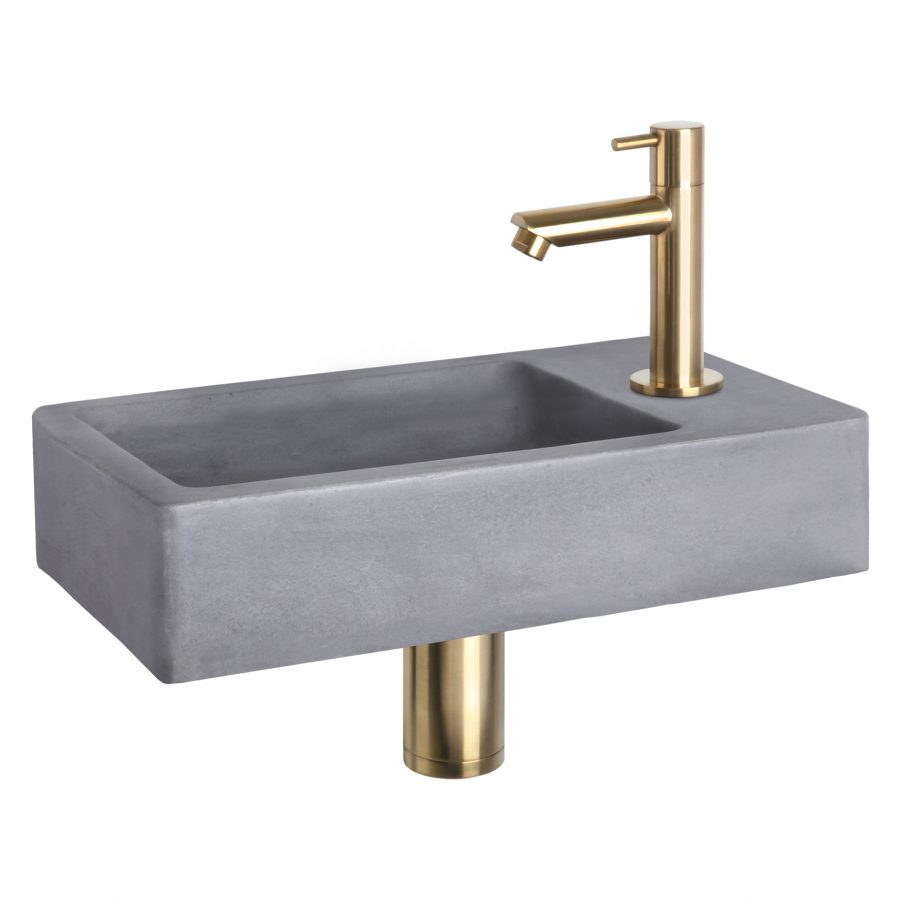Force fonteinset - Beton donkergrijs - Kraan recht mat goud