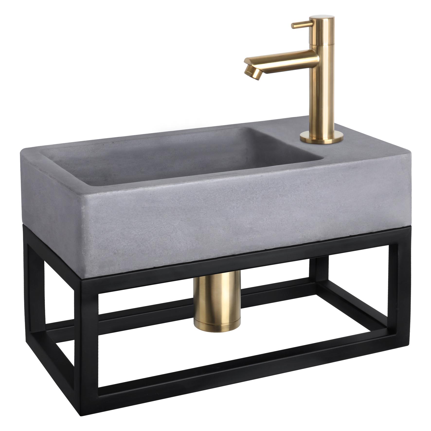 Force fonteinset - Beton donkergrijs - Kraan recht mat goud - Met handdoekrek