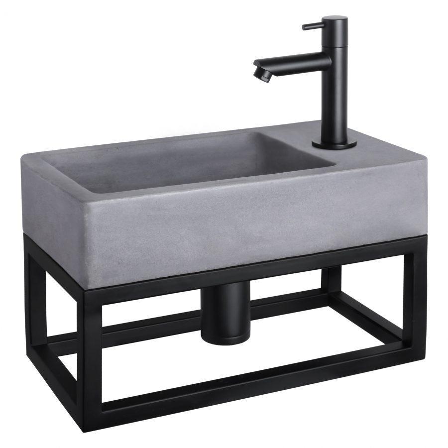 Force fonteinset - Beton donkergrijs - Kraan recht mat zwart - Met handdoekrek
