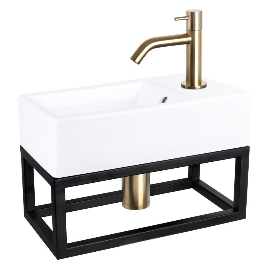 Force fonteinset - Keramiek - Kraan gebogen mat goud - Met handdoekrek