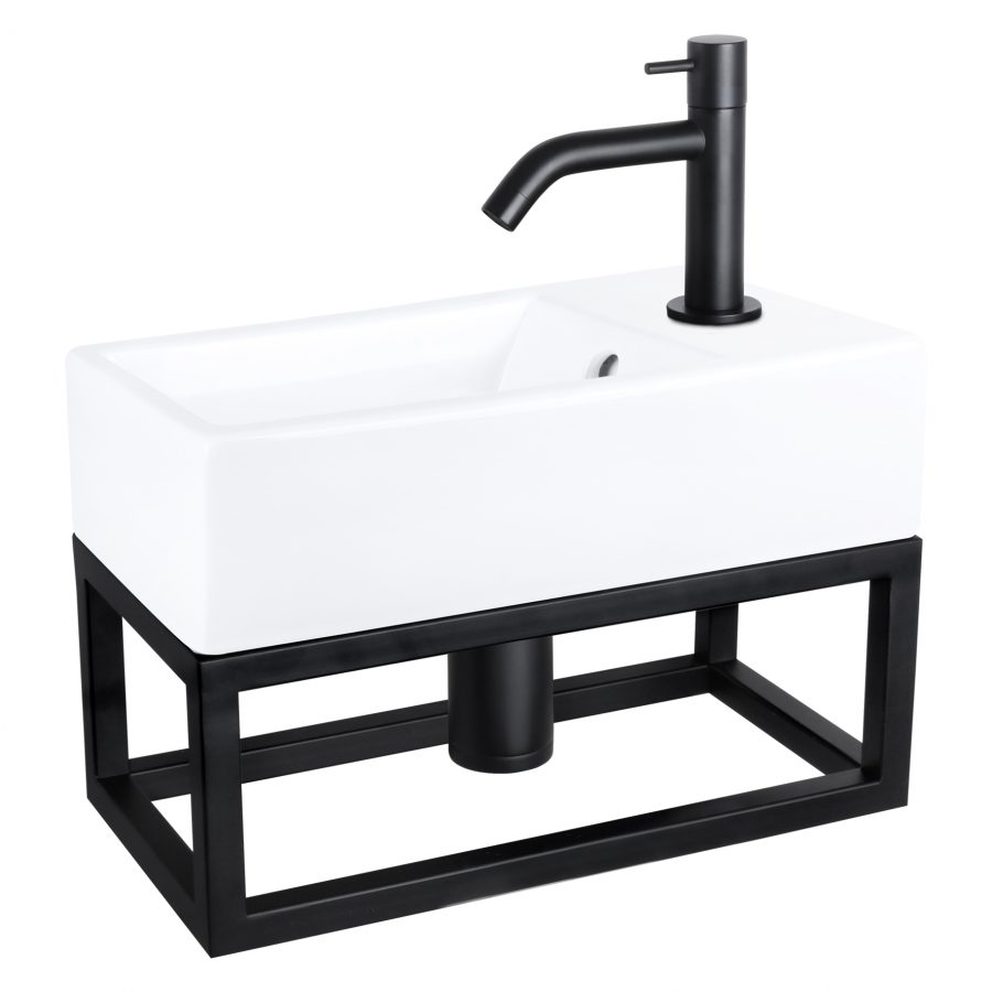force fonteinset keramiek kraan gebogen mat zwart met handdoekrek