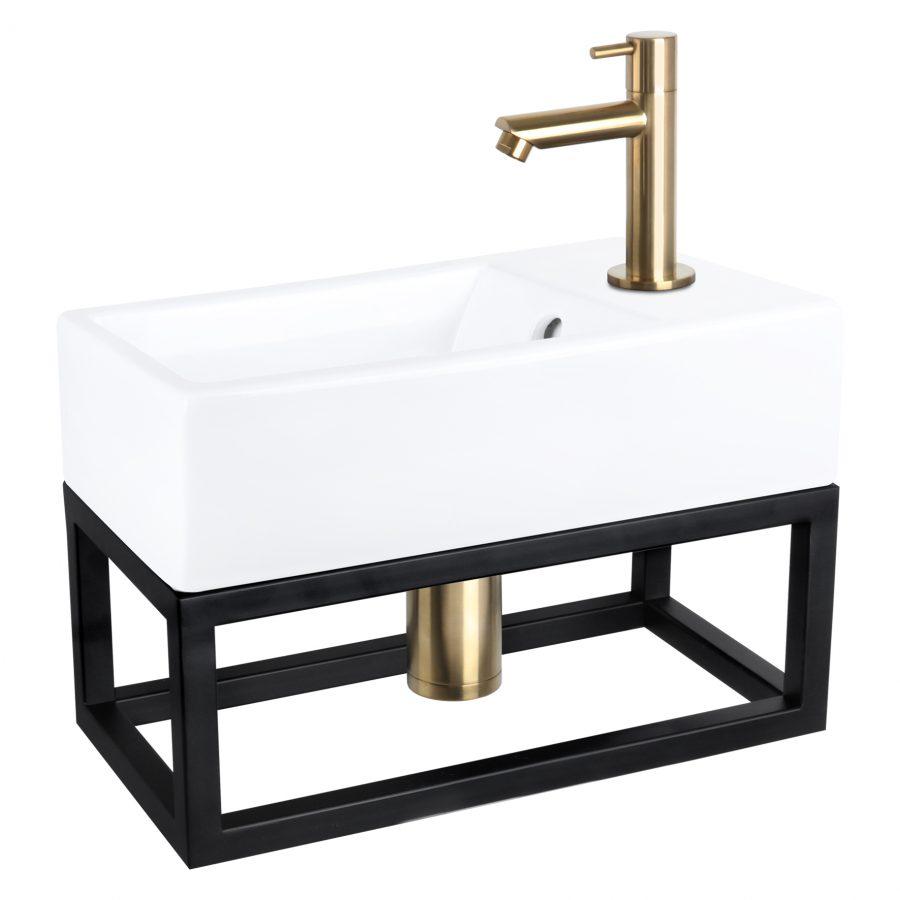 Force fonteinset - Keramiek - Kraan recht mat goud - Met handdoekrek