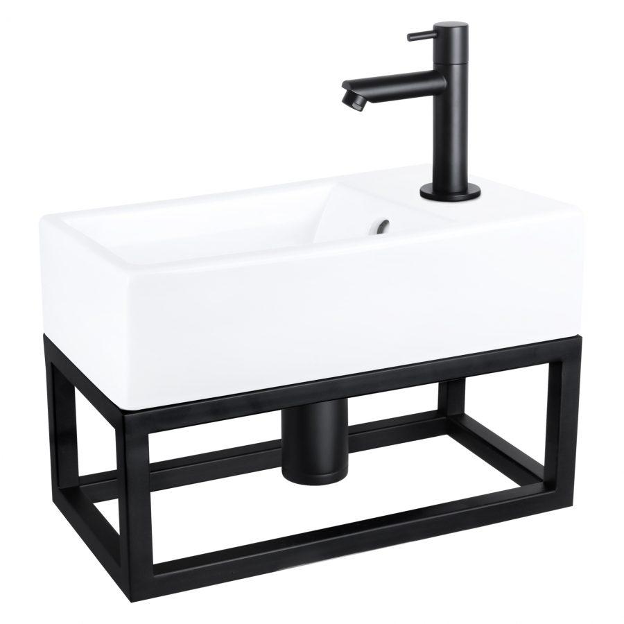 Force fonteinset - Keramiek - Kraan recht mat zwart - Met handdoekrek