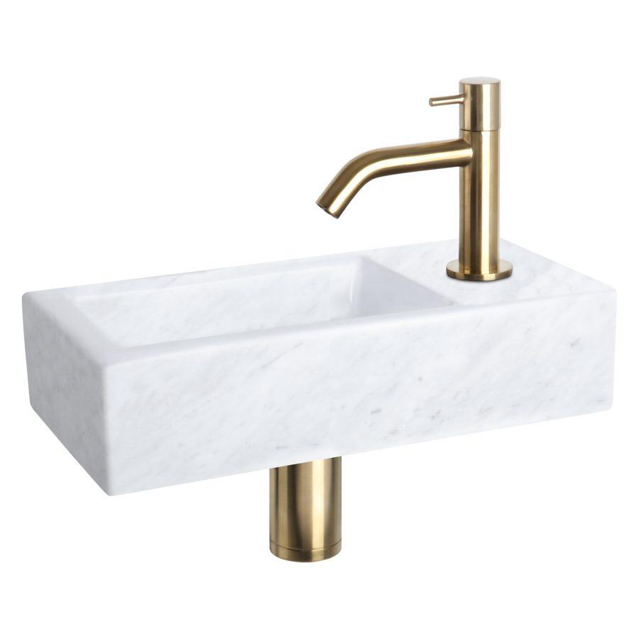 Helios fonteinset - Marmer - Kraan gebogen mat goud