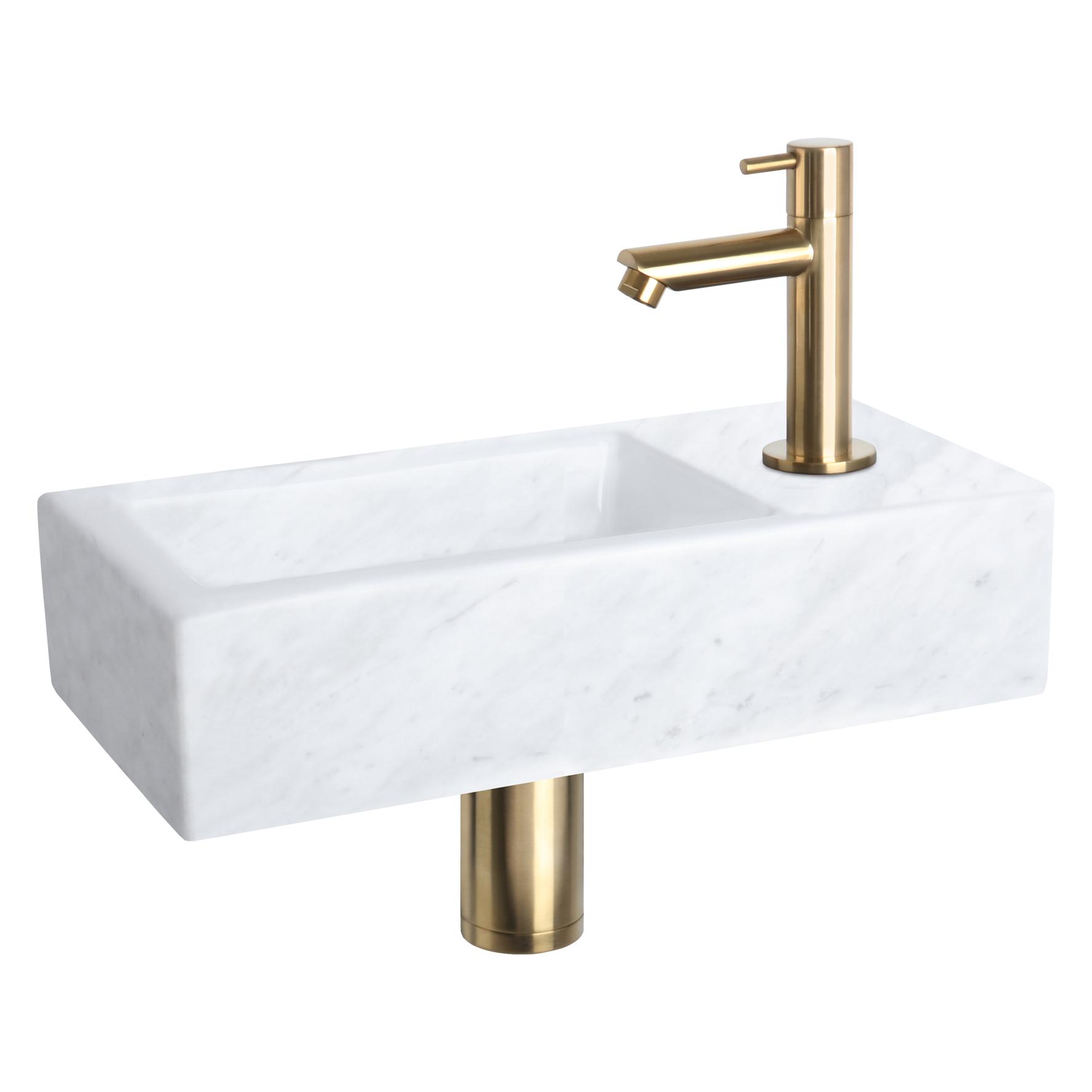 Helios fonteinset - Marmer - Kraan recht mat goud