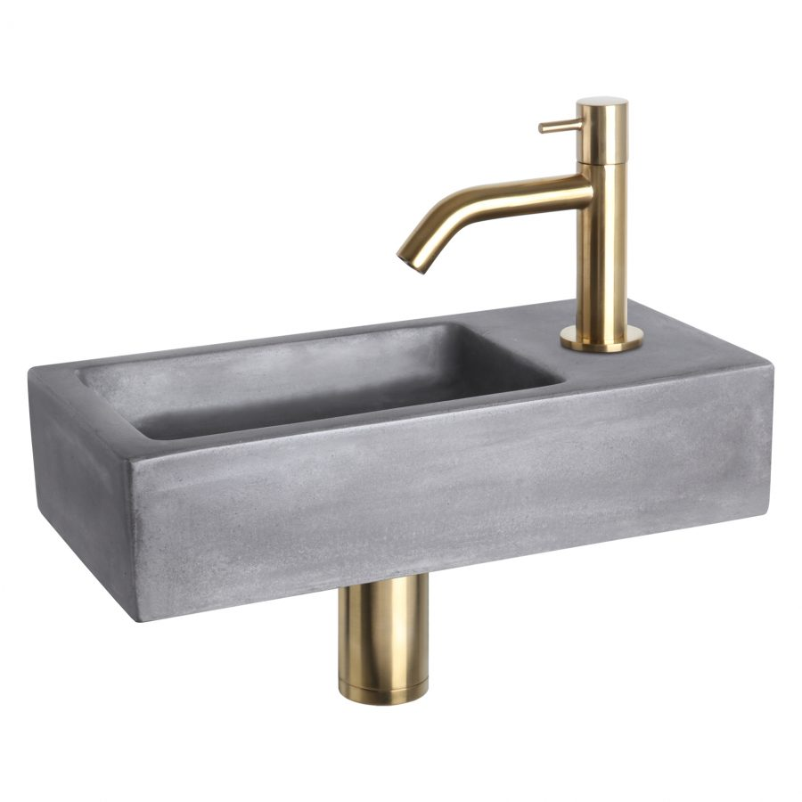Ravo fonteinset - Beton donkergrijs - Kraan gebogen mat goud