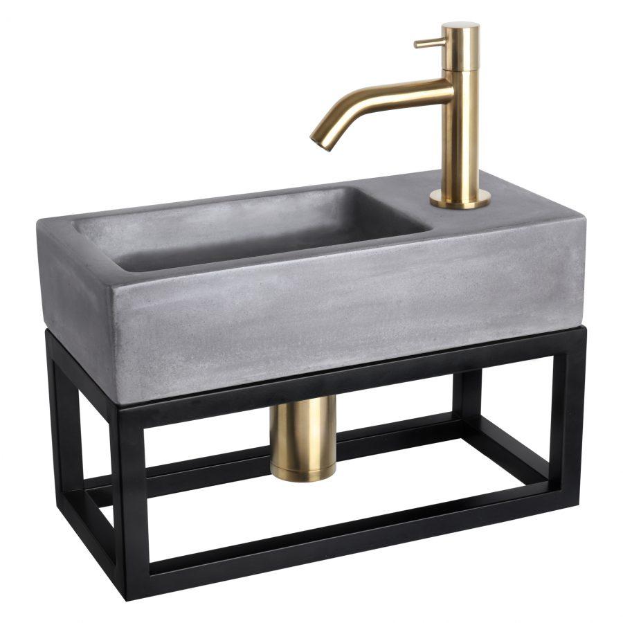 Ravo fonteinset - Beton donkergrijs - Kraan gebogen mat goud - Met handdoekrek
