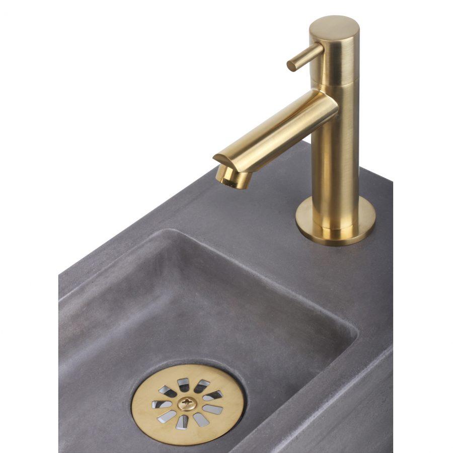 Ravo fonteinset - Beton donkergrijs - Kraan recht mat goud - Met handdoekrek