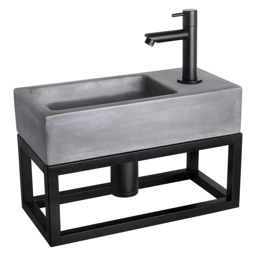Ravo fonteinset - Beton donkergrijs - Kraan recht mat zwart - Met handdoekrek