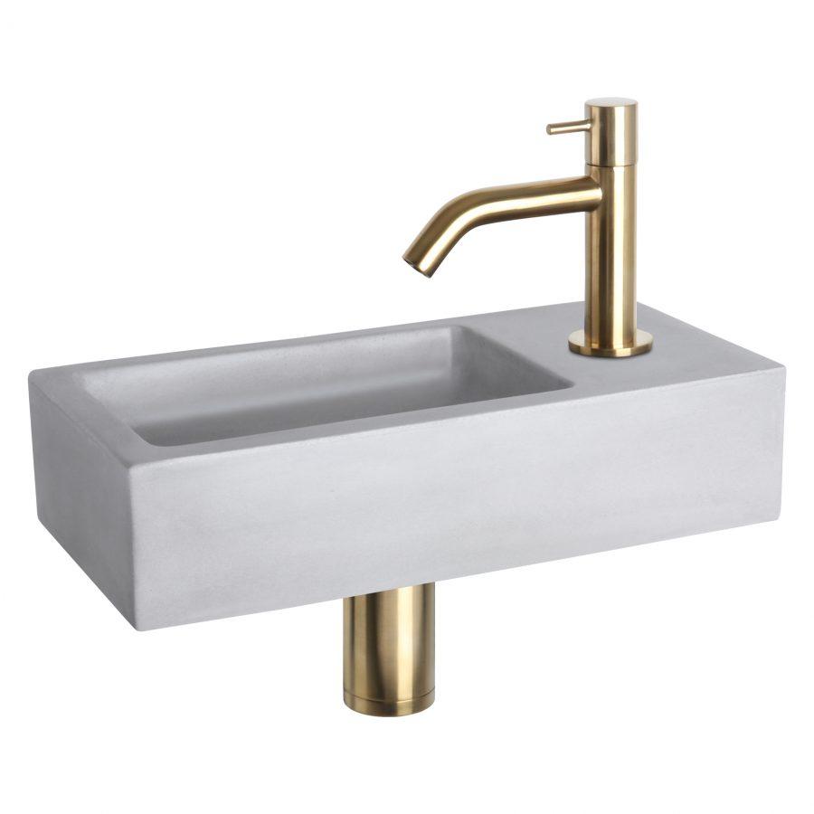 Ravo fonteinset - Beton lichtgrijs - Kraan gebogen mat goud