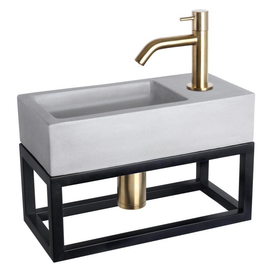 Ravo fonteinset - Beton lichtgrijs - Kraan gebogen mat goud - Met handdoekrek
