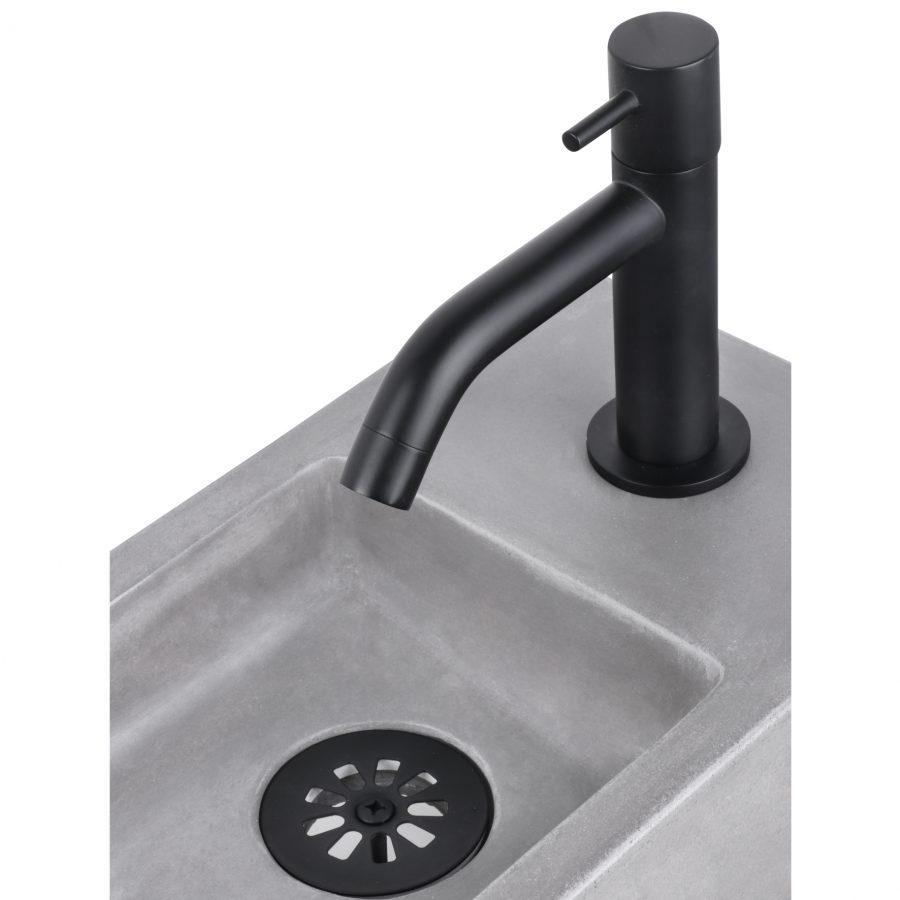 Ravo fonteinset - Beton lichtgrijs - Kraan gebogen mat zwart - Met handdoekrek