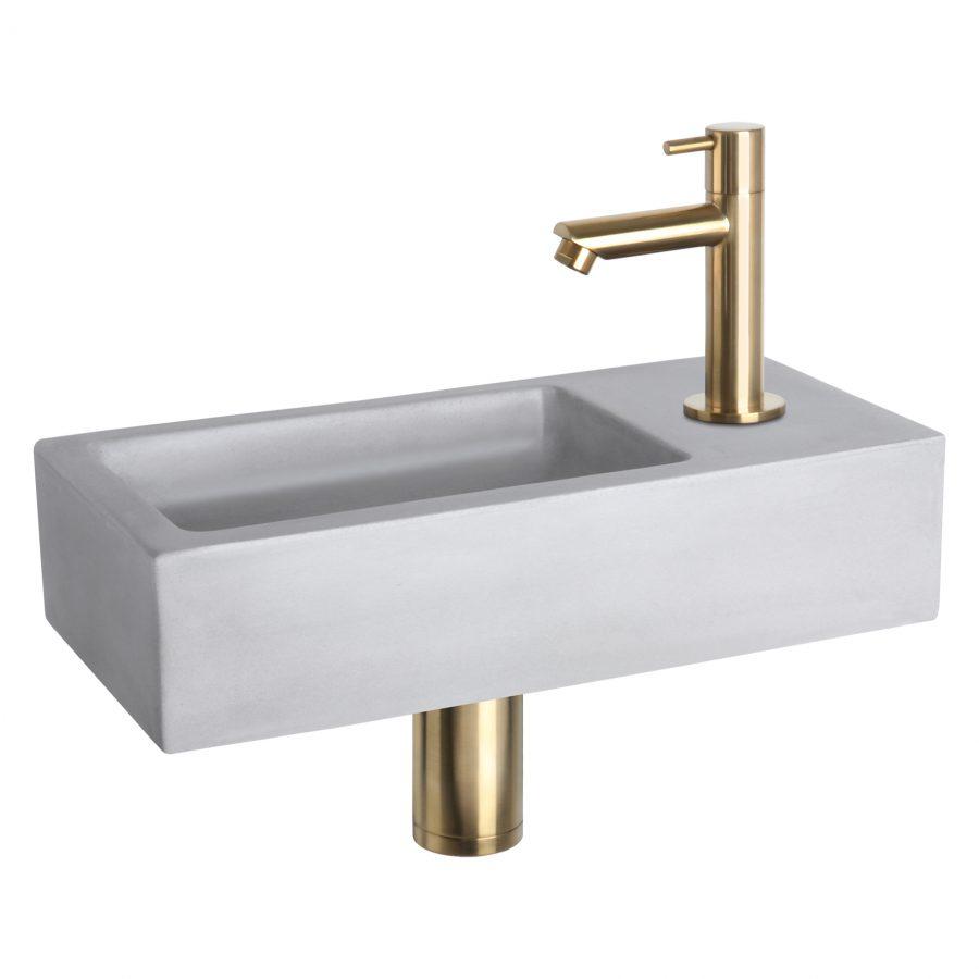 Ravo fonteinset - Beton lichtgrijs - Kraan recht mat goud