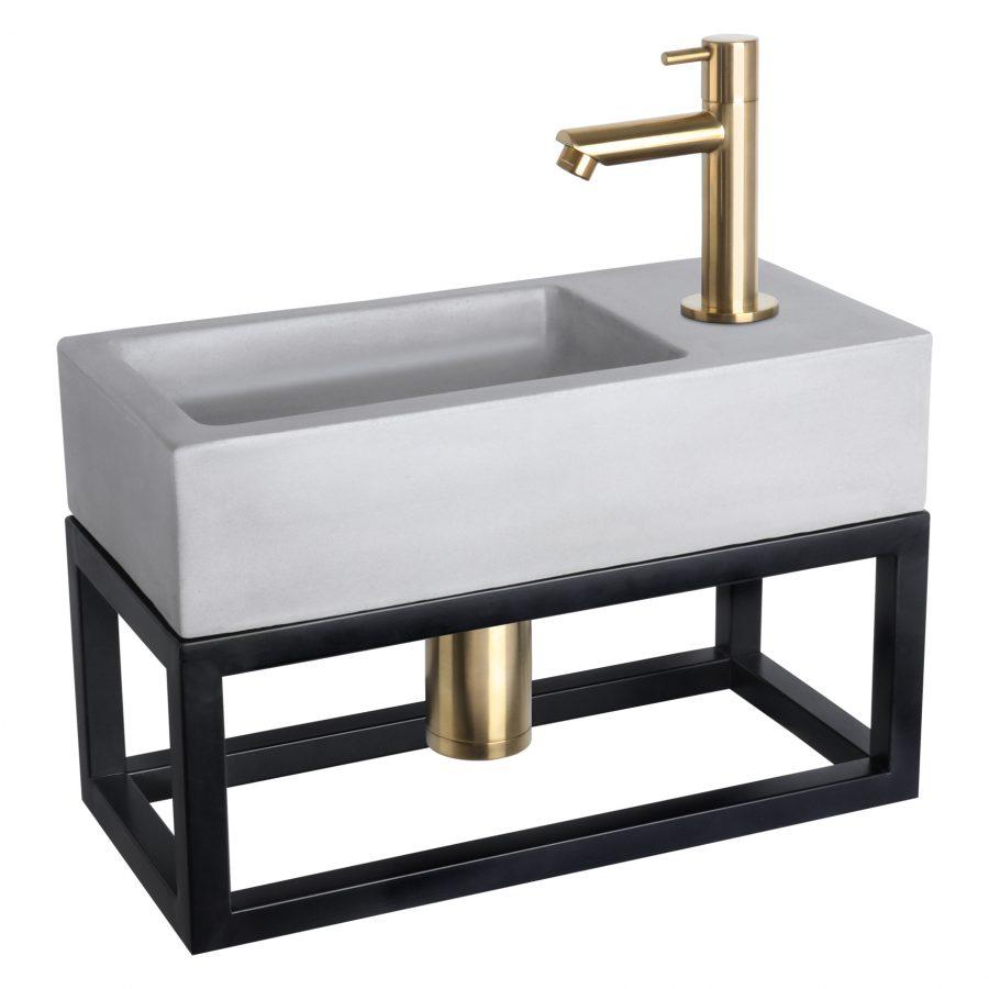 Ravo fonteinset - Beton lichtgrijs - Kraan recht mat goud - Met handdoekrek