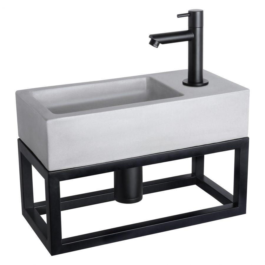 Ravo fonteinset - Beton lichtgrijs - Kraan recht mat zwart - Met handdoekrek